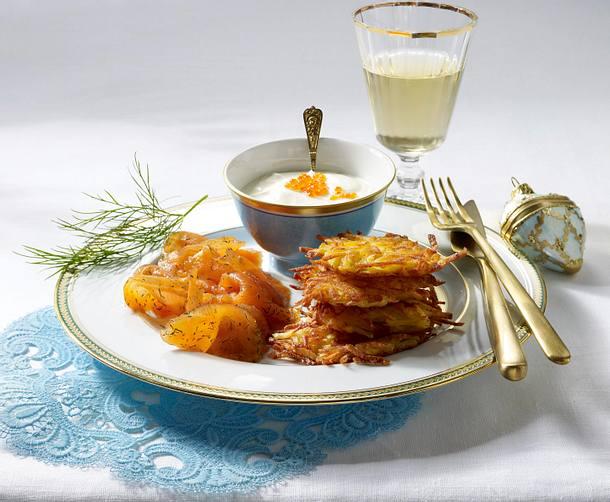 Gebeizter Lachs mit Kartoffel-Rösties (für 8-10 Personen) Rezept