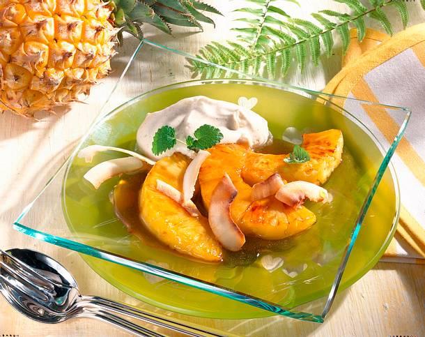 Gebratene Ananas mit Mascarponecreme (kalorienreduziert) Rezept