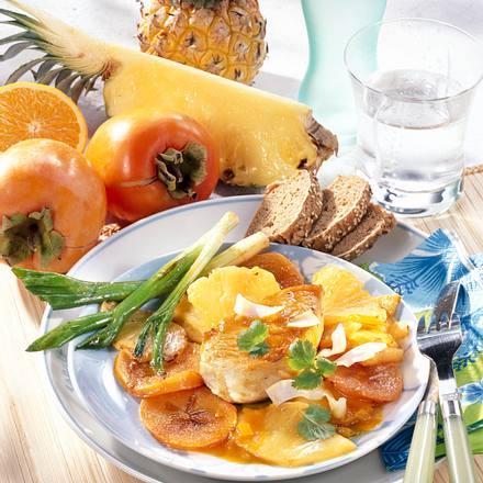 Gebratene Ananas & Kaki zu Putensteak Rezept