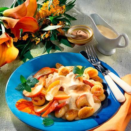 Gebratene Gnocchi mit Äpfeln und Vanillecreme Rezept