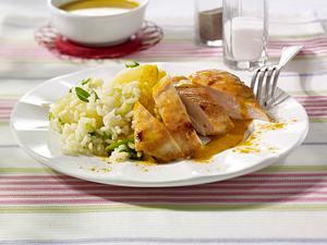 Gebratene Hähnchenbrust mit Curryrahm Rezept