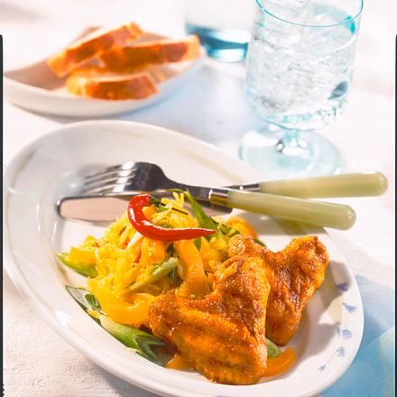 Gebratene Hähnchenflügel und Asiatischer Salat Rezept