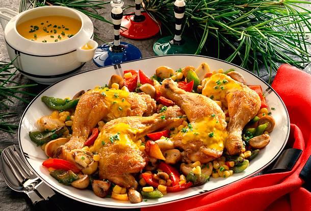 Gebratene Hähnchenkeulen mit Currysoße Rezept