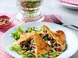 Gebratene Pilz-Maultaschen zu Blattsalat Rezept