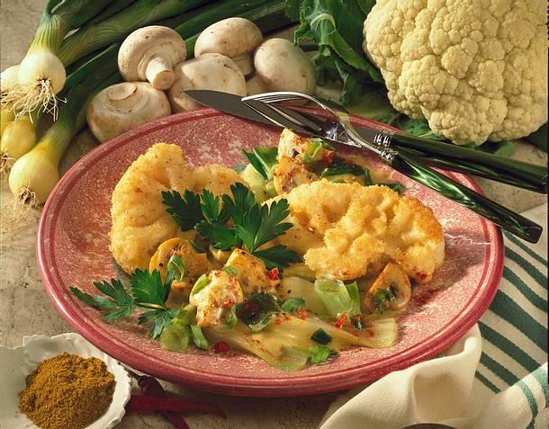 Gebratener Blumenkohl in Gemüse-Currysoße Rezept
