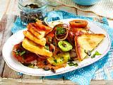 Gebratener Käse auf Tomatensalat Rezept