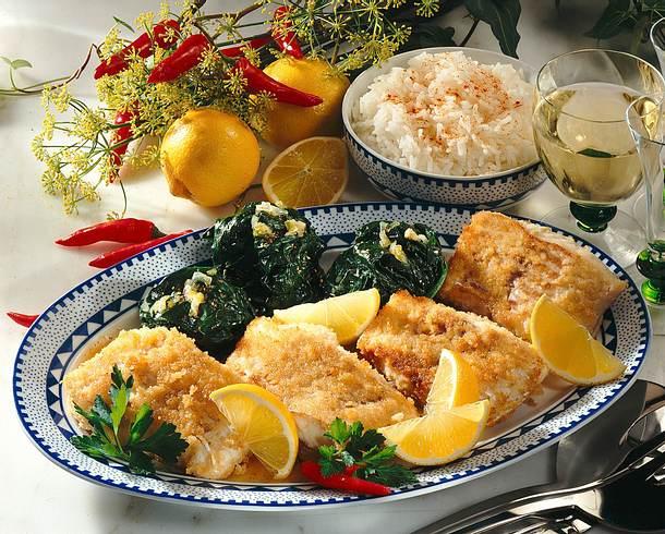Gebratener Lengfisch mit Spinatbällchen Rezept