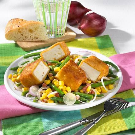 gebratener schafsk se mit bohnensalat rezept chefkoch rezepte auf kochen backen. Black Bedroom Furniture Sets. Home Design Ideas