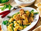 Gebratener Tofu mit Blumenkohl-Zuckerschoten Curry Rezept