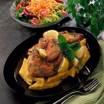 Gebratenes Hähnchen mit Rosmarin auf Polenta Rezept