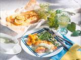 Gebratenes Lachsfilet mit Kräuter-Mayonnaise, Butter-Bohnen und Röstkartoffeln Rezept