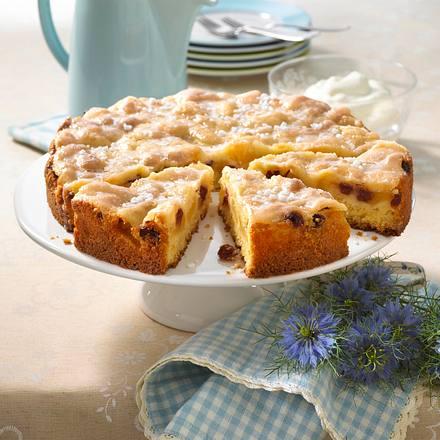 Gedeckter Apfel-Cranberrykuchen Rezept