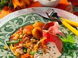 Gedünstetes Gemüse mit Roastbeef und Meerrettich-Sahne-Soße Rezept