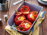 Gefüllte Paprika mit Spinat und Ei Rezept