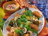 Geflügel-Dippers auf Salat Rezept