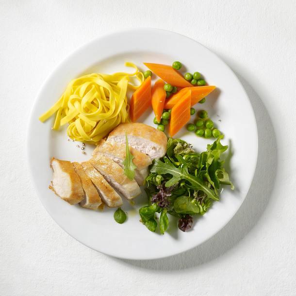 Geflügel mit Nudeln und Salat Rezept