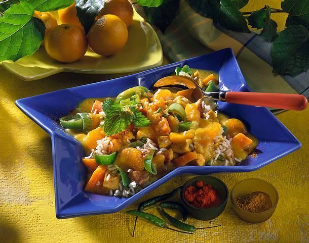 Geflügel-Reiscurry mit Mandarinen Rezept