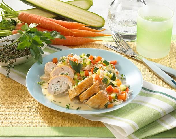 Geflügelröllchen mit Möhren-Reis Rezept