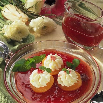 Gefüllte Aprikosen auf Himbeersoße Rezept