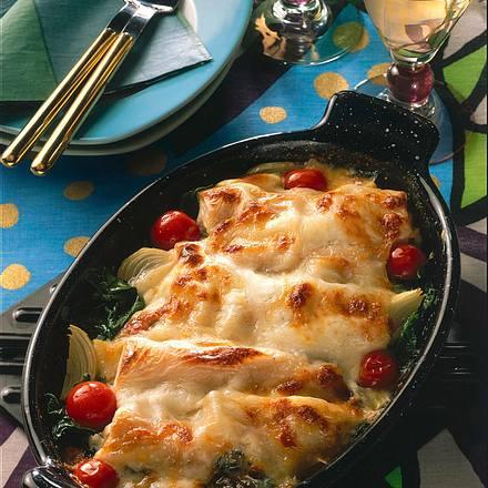 Gefüllte Cannelloni auf Spinat Rezept