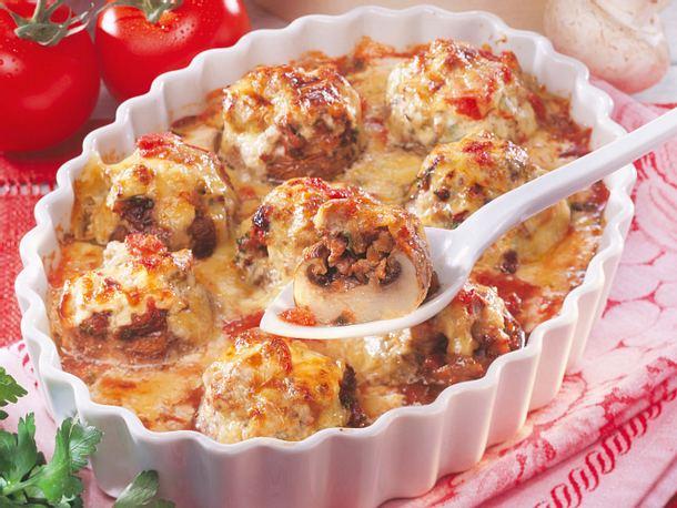 Gefüllte Champignons in Tomaten-Sahne Rezept