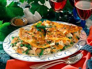 Gefüllte Curry-Pfannkuchen mit Hühnerfrikassee Rezept