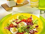 Gefüllte Eier auf buntem Salat mit Kerbel-Vinaigrette Rezept