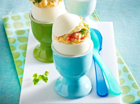 Gefüllte Eier mit Krebsfleisch Rezept