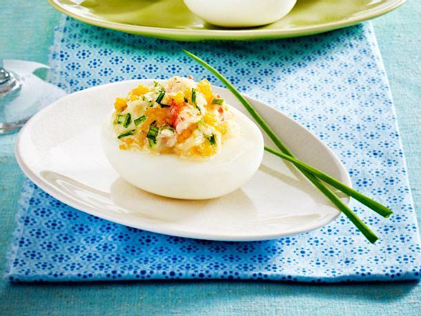 Gefüllte Eier mit Garnelen Rezept