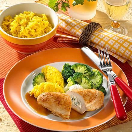 Gefüllte Hähnchenfilets mit Reis und Broccoli Rezept