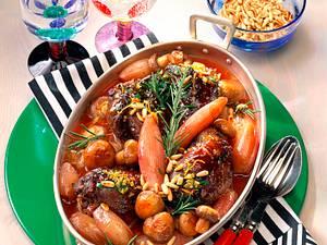 Gefüllte Hasenkeulen mit Schalotten-Pilz-Gemüse Rezept