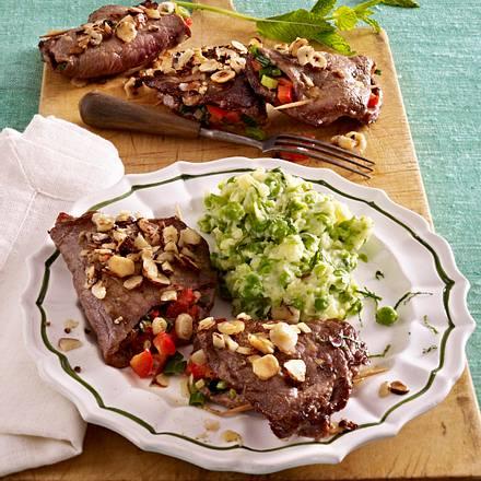 Gefüllte Kalbsschnitzel mit Erbsenpüree Rezept