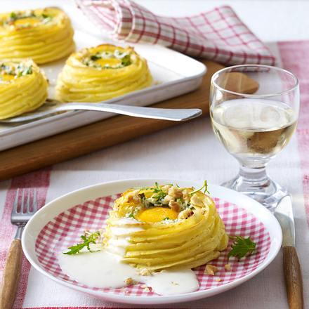 Gefüllte Kartoffelnester mit Gorgonzolarahm Rezept