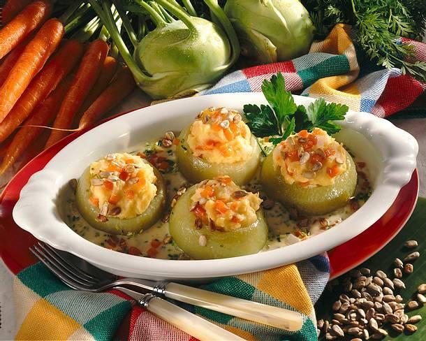 Gefüllte Kohlrabi mit Kartoffelpüree Rezept