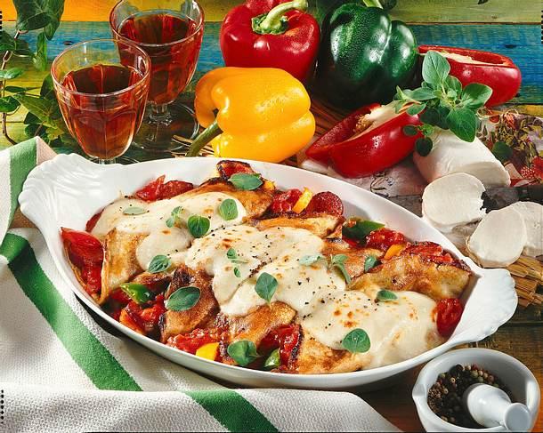 Gefüllte mit Mozzarella überbackene Pfannkuchen Rezept
