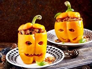Gefüllte Paprika-Fratzen (Halloween)