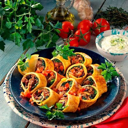 Gefüllte Pfannkuchen mit Lammhack Rezept
