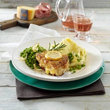 Gefüllte Putenschnitzel mit Erbsen-Zwiebel-Gemüse Rezept