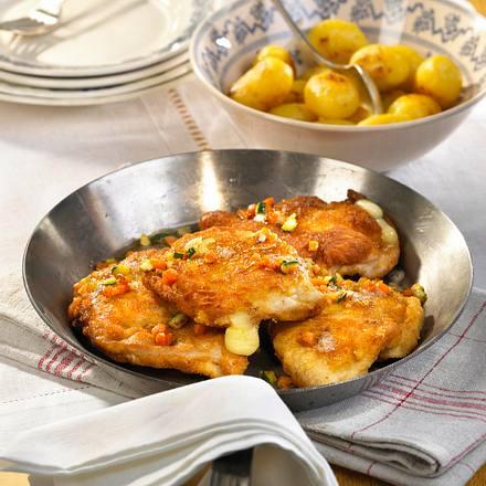 Gefüllte Putenschnitzel mit Raclette Rezept