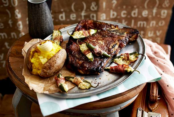 gef llte schinken jalape os mit t bone steak und backkartoffeln rezept chefkoch rezepte auf. Black Bedroom Furniture Sets. Home Design Ideas