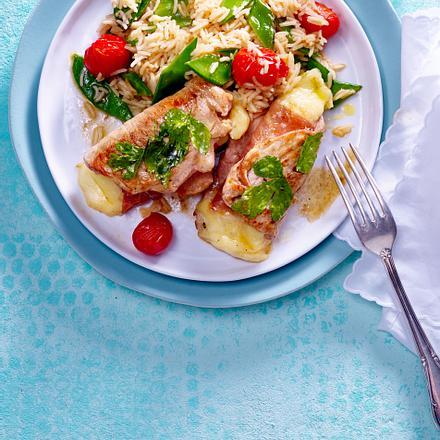 Gefüllte Schnitzel mit Gemüse-Reis Rezept