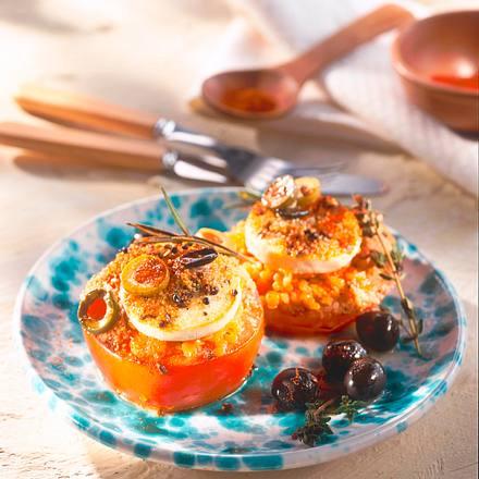 Gefüllte Tomate mit Gewürz-Ziegenkäse-Kruste Rezept