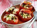 Gefüllte Tomaten in Rahmsoße mit Erbsen-Reis Rezept