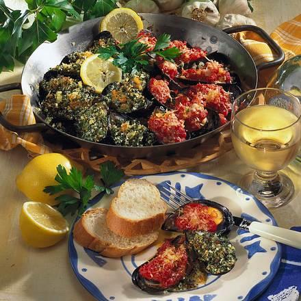 Gefüllte überbackene Muscheln Rezept