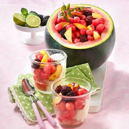 Gefüllte Wassermelone mit Zitronensorbet Rezept