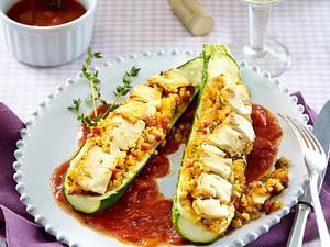 Gefüllte Zucchini mit Bulgur Rezept