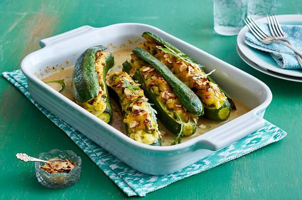 Gefüllte Zucchini mit Kartoffel-Püree Rezept
