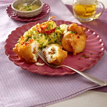 Gefüllter Backfisch mit lauwarmem Kartoffelsalat Rezept