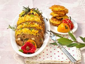 Gefüllter Hackbraten mit Kartoffelkruste Rezept