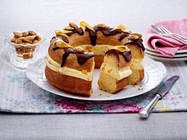 Gefüllter Kranzkuchen mit Mango-Mascaronecreme und Schokoguss Rezept